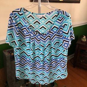 Blue Geometric Short Sleeve Blouse